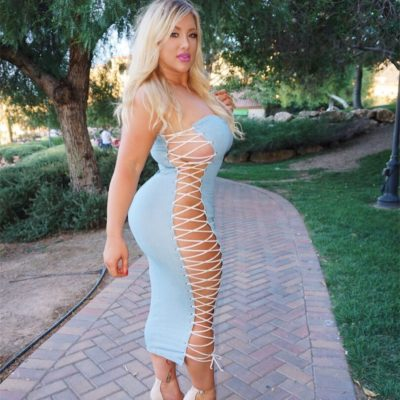 Busty Big Tit Blonde in Tight Dress