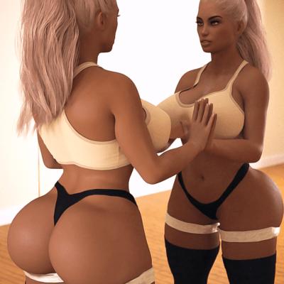 3D Hot Curvy Blonde Babe